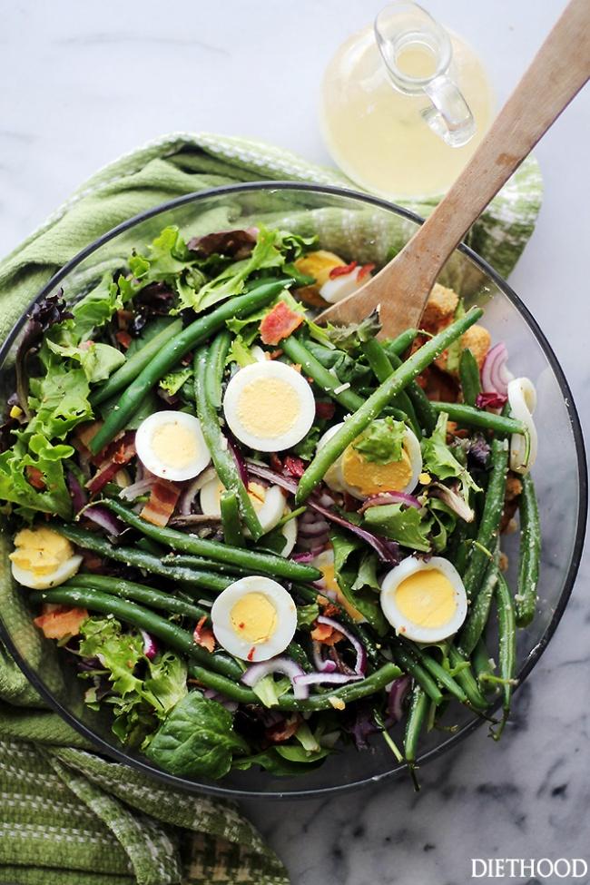 Легкий салат со стручковой фасолью